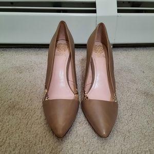 BOGO Free Vince Camuto petroleum beige genuine leather high heels